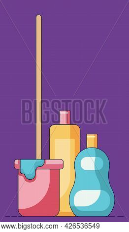 Cartoon Illustration Of A Bucket With A Mop In Front Of A Liquid Soap And Cleaning Facilities In Pla