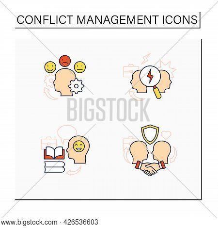 Conflict Management Color Icons Set.teaching Positive Behaviors, Building Trust, Managing Emotions,