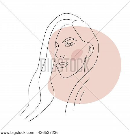 Linear Portrait Of A Beautiful Woman. Beauty Industry, Women's Holiday. Vector Illustration
