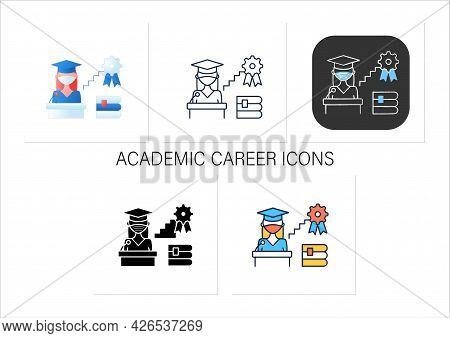 Academic Career Icons Set.personal Growth.motivation Speech.work At University.professor Career.prof