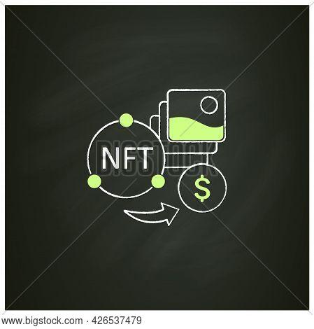 Nft Fun Chalk Icon. Selling Digital Arts. Receiving Money For Sale Intellectual Property.digitalizat