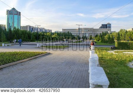 Nur-sultan - Kazakhstan: June 10, 2021: Center Of Nur-sultan, View Of Ministry Of Foreign Affairs On