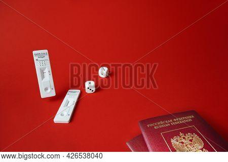 Rapid Sars-cov-2 Antigen Test, Negative Result, Unused, Dice On Red, Pair Of Tourist Passports.conce