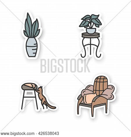 Blanket House Stickers.modern Apartment Furniture, Accessories, Things Badge For Designs.home Interi