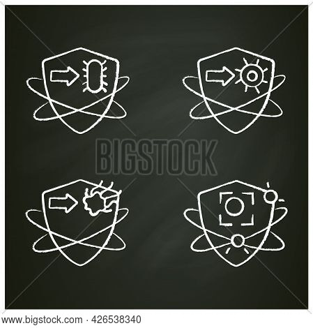 Immune System Chalk Icons Set. Immunology Concept. Bacteria And Virus Fight, Cancer Calls. Health, I