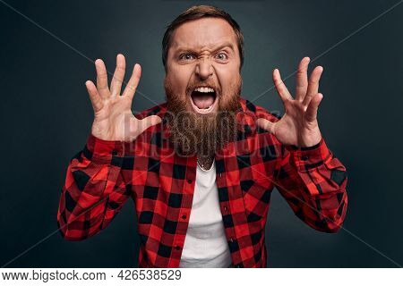 Angry And Disappointed Handsome Bearded Man In Checkered Shirt Swearing And Cursing Everyone As Lost