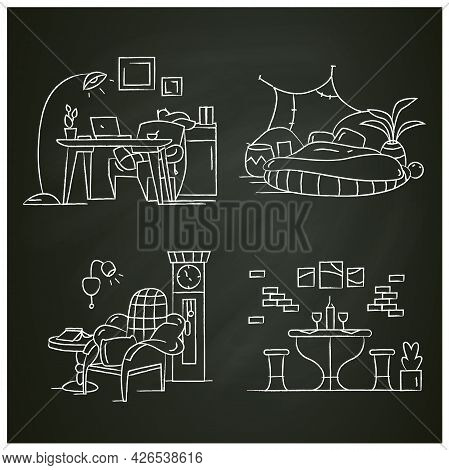 Blanket House Chalk Icons Set. Living Room, Kitchen, Bedroom, Home Workplace.modern Apartment Furnit