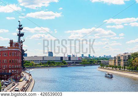 Moscow, Russia - May 25, 2021: View Of Bersenevskaya, Prechistenskaya And Yakimanskaya Embankments A