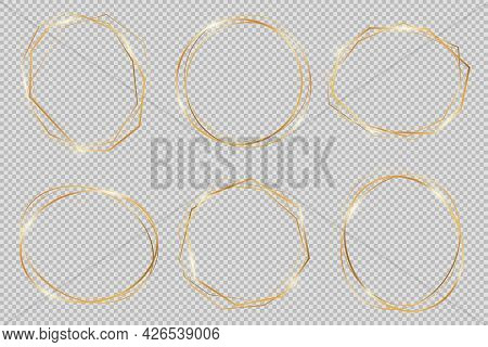 Set Of Modern Shiny Vector Polygonal And Oval Shapes. Collection Of Gold Geometric Frames Can Be Use