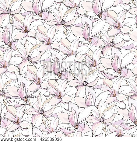 Floral Seamless Print With White And Pink Lilies, Gentle Hand-drawn Vector Pattern For Fabric, Dress