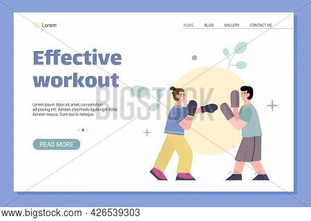 Effective Workout With Personal Coach Web Page, Flat Vector Illustration.