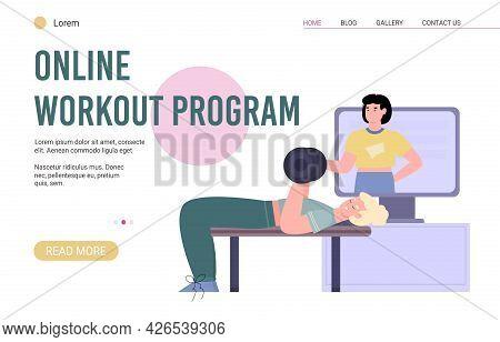 Personal Online Workout Program Webpage, Flat Cartoon Vector Illustration.