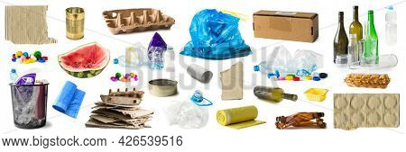 Sorted garbage collage with different types of trash isolated on white background. Set of recycled rubbish separated on groups