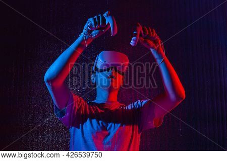 Caucasian Man 25-30 Years In Vr Glasses, Playing Video Games With Virtual Reality Headset, Trying To