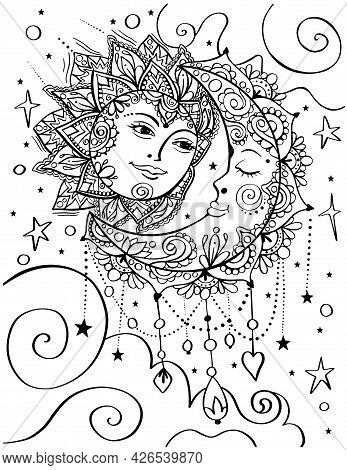 Sun And Moon Bohemian Style Adult Coloring Book Page