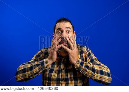 Close Up Photo Disappointed Confused Youngster Touch Hands Palms Face Cheek Shout Bristle Impressed