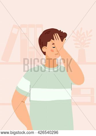 Man Feeling Sadness Of Disappointment Or Fail, Flat Vector Illustration.