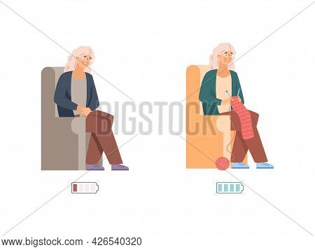Vigorous And Tired Elderly With Power Indicator, Vector Illustration Isolated.