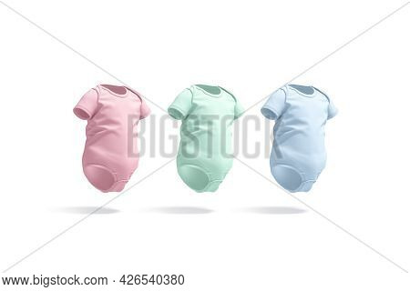 Blank Colored Half Sleeve Baby Bodysuit Mockup, Side View, 3d Rendering. Empty Pink, Green And Blue