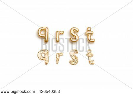 Inflated, Deflated Gold Q R S T Letters, Balloon Font, 3d Rendering. Helium Alphabet For Decoration