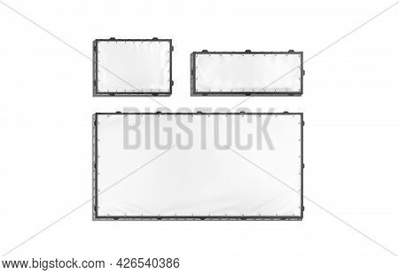 Blank White Rectangle Stretching Banner With Black Grip Frame Mockup, 3d Rendering. Empty Small, Big