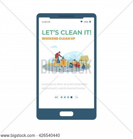 Onboarding Screen For Weekend Cleaning Ecological Event, Vector Illustration.