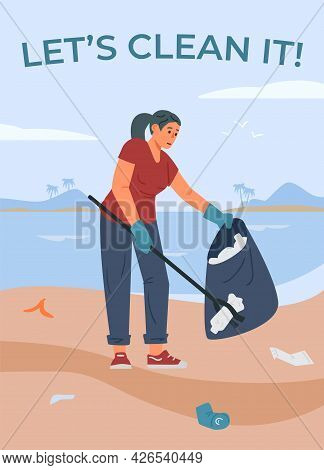 Volunteer Event Banner With Woman Picking Up Garbage, Flat Vector Illustration.