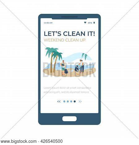 Volunteer Weekend Clean Up Onboarding Screen, Flat Vector Illustration Isolated.