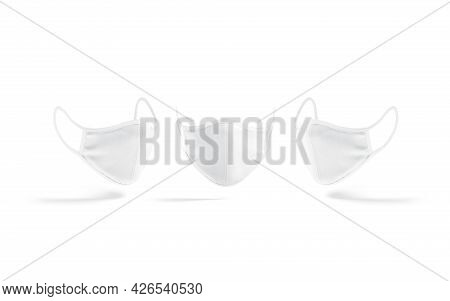 Blank White Fabric Face Mask Mockup, Front And Side View, 3d Rendering. Empty Cotton Medical Bandage