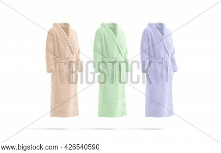 Blank Colored Hotel Bathrobe Mock Up, Side View, 3d Rendering. Empty Pink, Freen And Blue Fluffy Hou