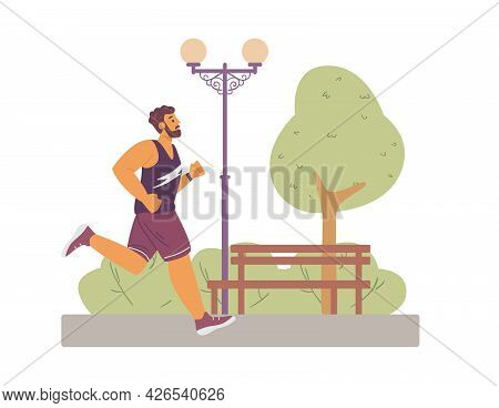 Male Runner In Sportswear Jogging In City Park At Morning A Vector Illustration.