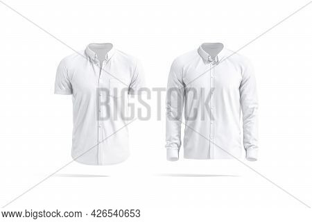 Blank White Short And Long Sleeve Men Shirt Mockup, Isolated, 3d Rendering. Empty Classic Male Blous