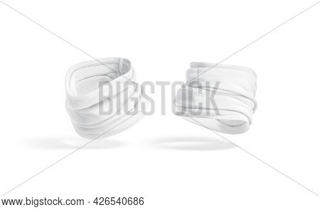 Blank White Folded Neck Gaiter Mockup, Half-turned View, Side Back, 3d Rendering. Empty Protective B
