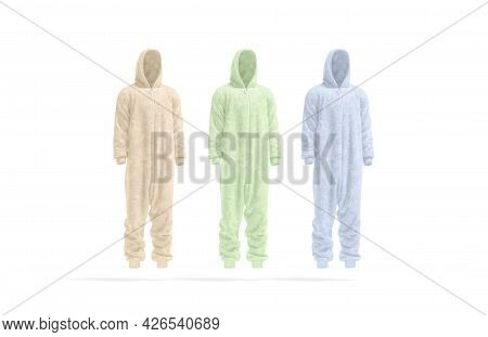 Blank Colored Plush Jumpsuit With Hood Mockup, Side View, 3d Rendering. Empty Pink, Green And Blue V