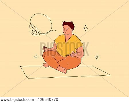 Obese Woman In Lotus Pose Vector Illustration. Flat And Line Cartoon Design Isolated On Beige Backgr