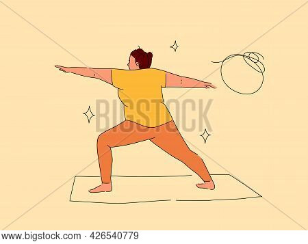 Plus Size Woman On Yoga Mat Vector Illustration. Flat And Line Cartoon Design Isolated On Beige Back