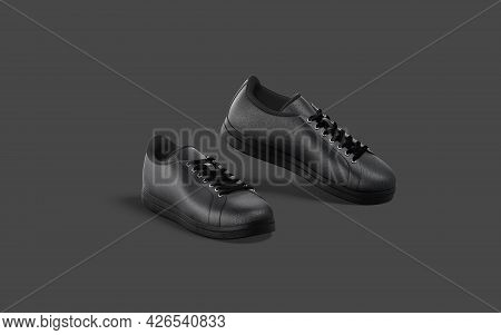 Blank Black Leather Sneakers With Lace Tiptoe Mockup, Dark Background, 3d Rendering. Empty Breathabl