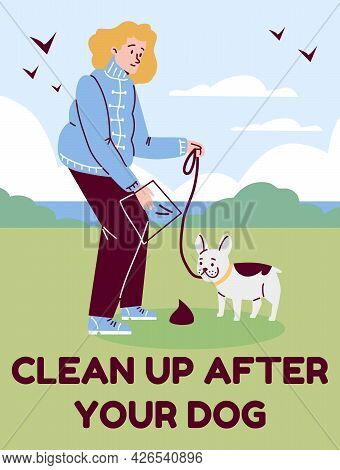Clean Up After Your Dog Card With Pet Owner And Dog, Flat Vector Illustration.