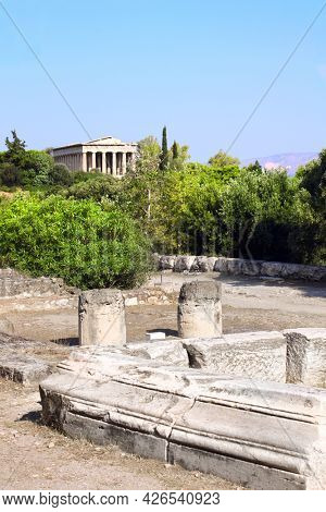Ruins of temple in Acropolis of Athens, Athens, Greece, Europe. UNESCO world heritage site