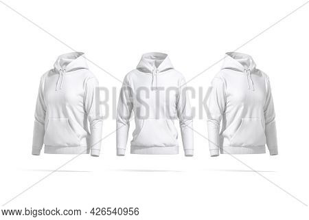 Blank White Women Sport Hoodie Mockup, Front And Side View, 3d Rendering. Empty Cotton Hooded Sweate