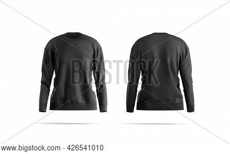 Blank Black Women Sweatshirt Mockup, Front And Back View, 3d Rendering. Empty Fabric Crewneck Sweate