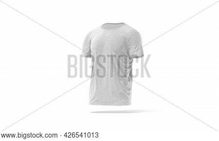 Blank Melange Wrinkled T-shirt Mockup, Side View, 3d Rendering. Empty Basic Undervest Tee-shirt Mock
