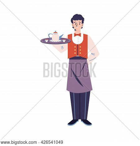 Waiter Male Character In Uniform Serving Food Flat Vector Illustration Isolated.