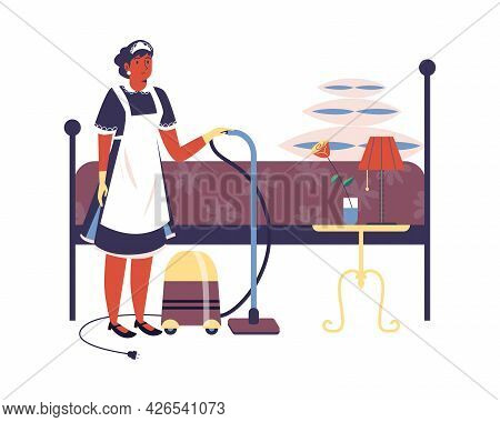 Hotel Maid Woman Cleaning Up Apartments, Flat Vector Illustration Isolated.