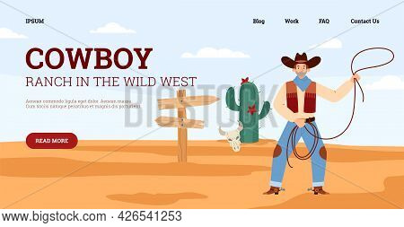 Wild West Cowboy Ranch Web Banner With Texas Cowboy, Flat Vector Illustration.
