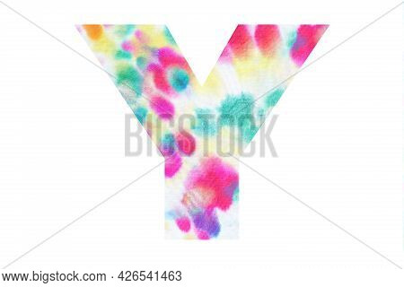 Initial Letter Y With Abstract Hand-painted Tie Dye Texture. Isolated On White Background. Illustrat