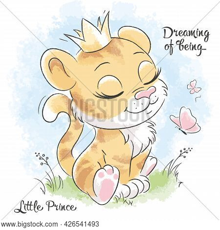 Little Cute Tiger Is Dreaming. Series Of Illustrations Dream Of Being. Fashion Illustration Drawing