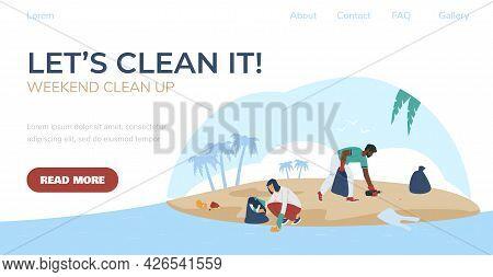 Seashore Clean Up Web Banner Or Landing Page Mockup, Flat Vector Illustration.