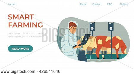 Control On A Dairy Farm By Mobile Application, Vector Flat Style Illustration.