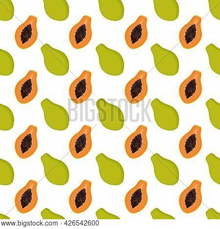 Bright Seamless Pattern With Papaya, Vector Illustration